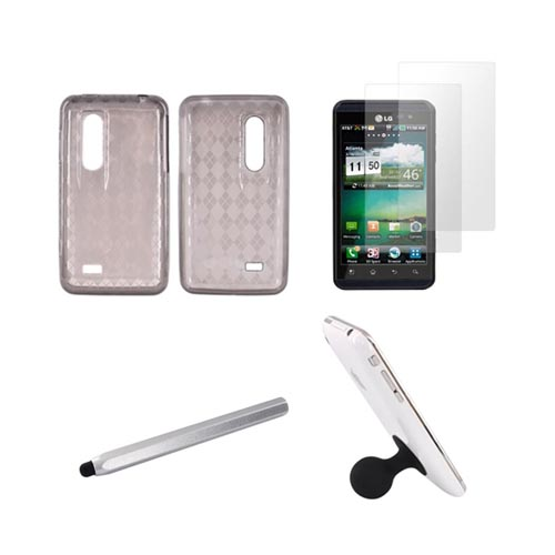LG Thrill 4G Essential Bundle Package w/ Smoke Crystal Silicone Case, 2 Pack Screen Protector, Silver Metal Pen Stylus, & Black Suction Ball Stand