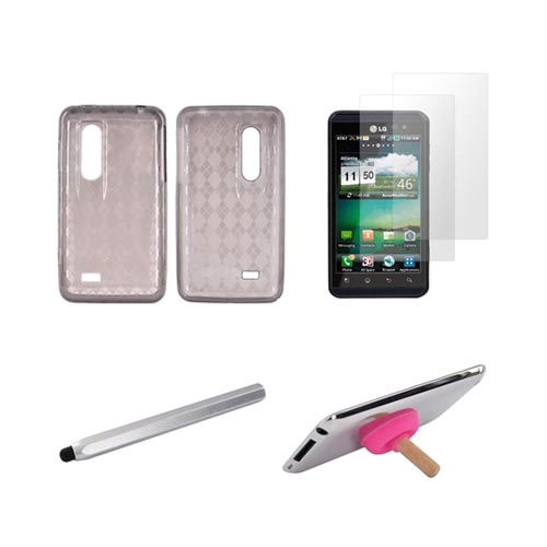 LG Thrill 4G Essential Bundle Package w/ Smoke Crystal Silicone Case, 2 Pack Screen Protector, Silver Metal Pen Stylus, & Hot Pink Plunger Stand