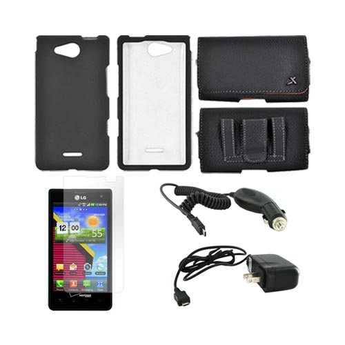 LG Lucid VS840 Essential Bundle Package w/ Black Rubberized Hard Case, Screen Protector, Leather Pouch, Car & Travel Charger