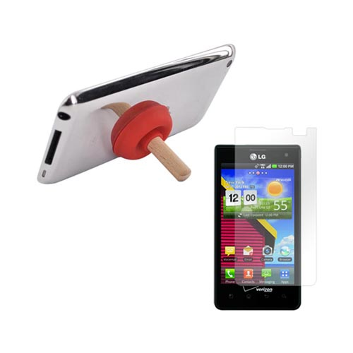 LG Lucid VS840 Essential Bundle Package w/ Clear Crystal Silicone Case, Screen Protector, Red Plunger Stand, Car & Travel Charger