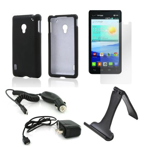 Essential Bundle Package w/ Black Rubberized Hard Case, Screen Protector, Portable Stand, Car & Travel Charger for LG Lucid 2