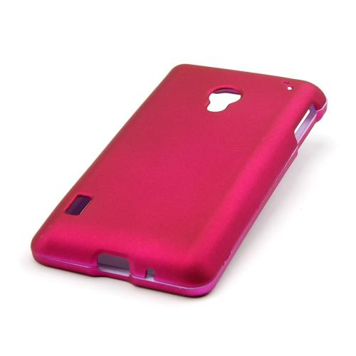 Essential Girly Bundle Package w/ Hot Pink & Purple Rubberized Hard Case, Mirror Screen Protector, Car & Travel Charger for LG Lucid 2