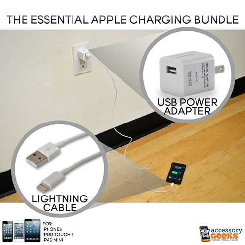 Essential Apple Bundle Package with Lightning Cable & Apple USB Power Adapter for iPhone 5/5S  iPod Touch 5 & iPad Mini