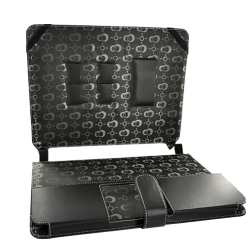 "Premium Dell Mini 12"" Notebook Leather Travel Case w/ Magnetic Closure - Black"