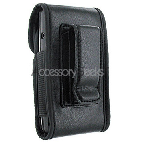 Leather Pouch w/ Velcro Closure - Black (BUT)