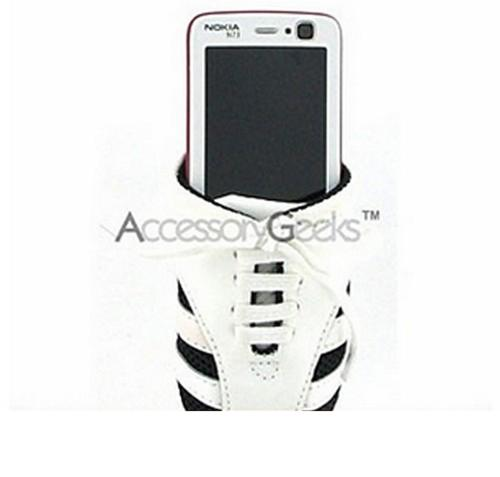 Universal Cell Phone Shoe Pouch (BS, BM, FS) - White w/ Black Trim