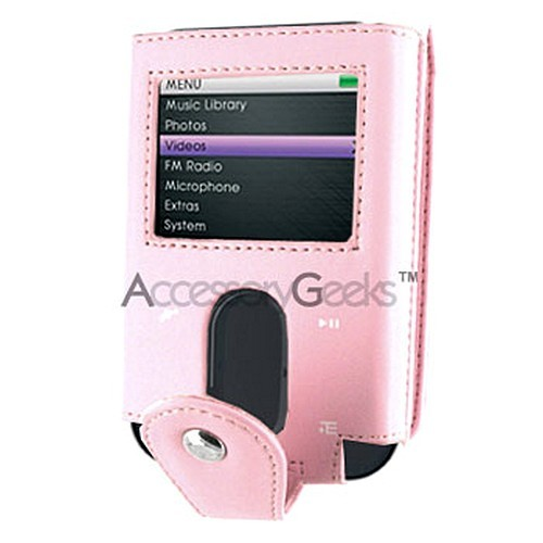 Creative Zen Vision:M Leather Pouch w/ Card Holder - Baby Pink (30GB)