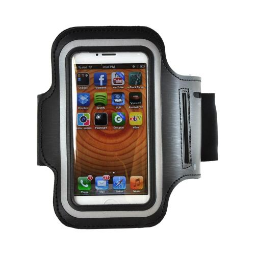 Black Sweat-Proof Neoprene Armband Case w/ Velcro Closure for Apple iPhone 4/4S/5/5S/5C