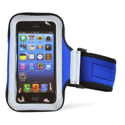 Blue/ Black Sweat-Proof Neoprene Armband Case w/ Velcro Closure for Apple iPhone 5/5S/5C