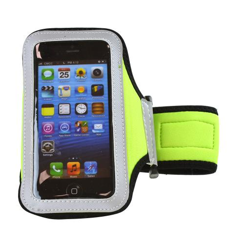 Lime Green/ Black Sweat-Proof Neoprene Armband Case w/ Velcro Closure for Apple iPhone 5/5S/5C
