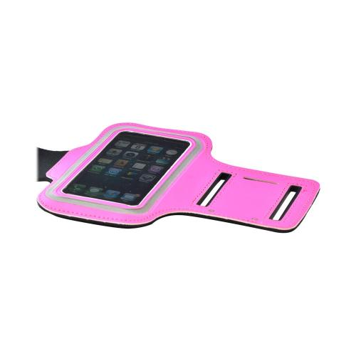 Hot Pink Sweat-Proof Neoprene Armband Case w/ Velcro Closure for Apple iPhone 5/5S/5C