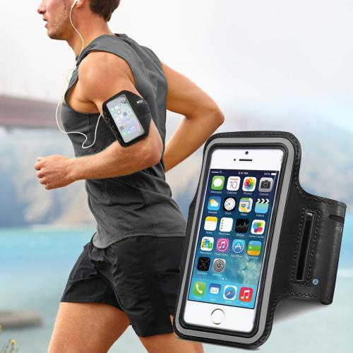 Black Apple iPhone 6 Plus Sweat-Proof Neoprene Armband Case w/ Velcro Closure