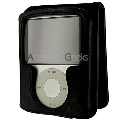 Apple iPod Nano Video Leather Case w/ Magnetic Closure - Black