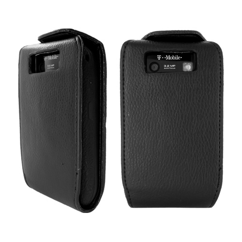 Blackberry Curve 8900 Vertical Flip Open Leather Case w/ Attached Silicone Case, Rubber Skin - Black