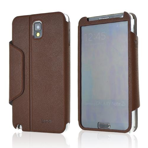iRoo Brown Faux Leather Diary Flip Cover Hard Case w/ Magnetic Closure & Built-In Privacy Screen Protector for Samsung Galaxy Note 3