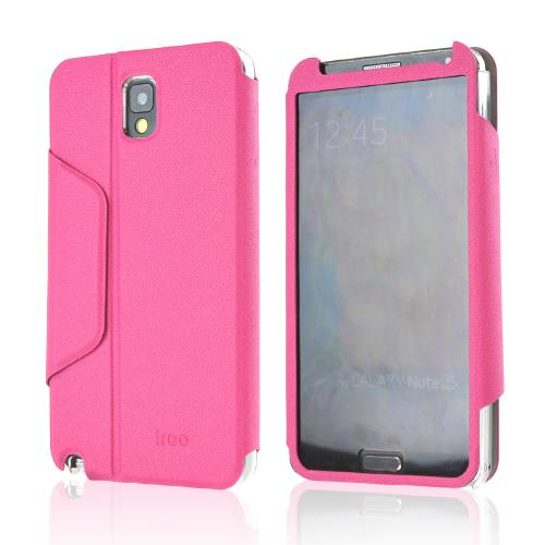 iRoo Hot Pink Faux Leather Diary Flip Cover Hard Case w/ Magnetic Closure & Built-In Privacy Screen Protector for Samsung Galaxy Note 3