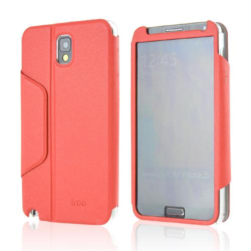 iRoo Red Faux Leather Diary Flip Cover Hard Case w/ Magnetic Closure & Built-In Privacy Screen Protector for Samsung Galaxy Note 3