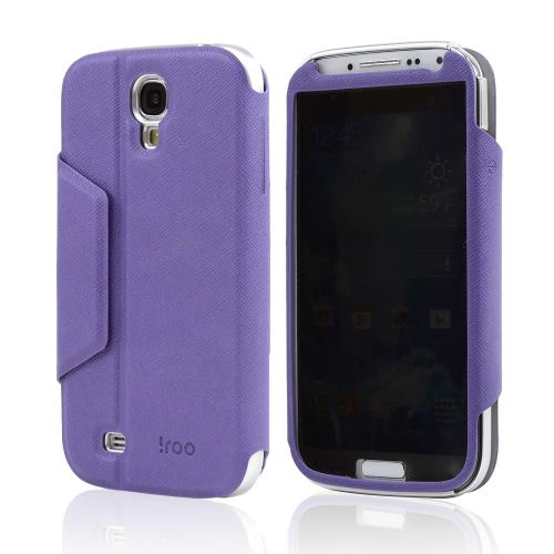 Purple/ Silver iRoo Leather Diary Flip Cover Hard Case w/ Flip-Open Privacy Screen Protector