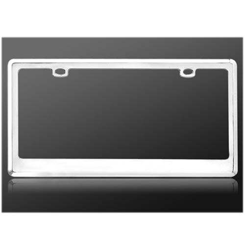 Universal License Plate Frame - Flat Metal Chrome