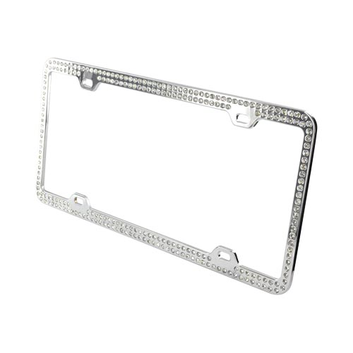 License Plate Frame - White Gems on Chrome