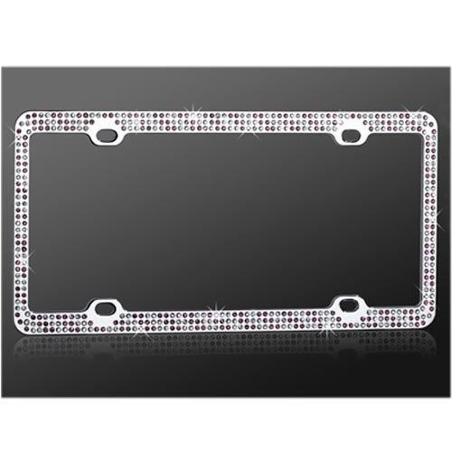 Universal License Plate Frame - Purple,White Gems on Chrome