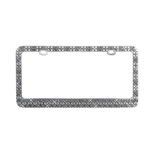 Universal License Plate Frame - Gun Metal Checkered X's w, Smoke Crystals