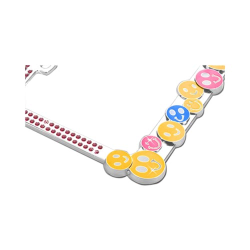 License Plate Frame - Smiley Faces w/ Pink Gems