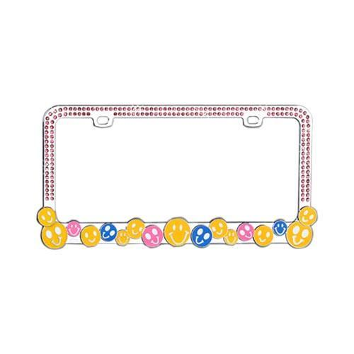 Universal License Plate Frame - Smiley Faces w/ Pink Gems