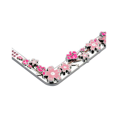 Universal License Plate Frame - Pink Cherry Blossoms & Gems