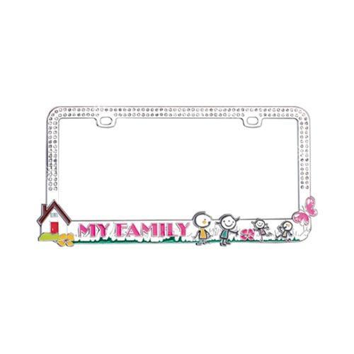 License Plate Frame - My Family w/ Silver Gems