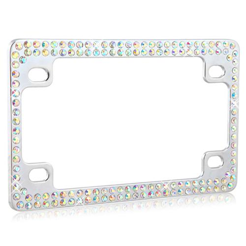Double Row Chrome Metal Frame with Multi-Color Crystals for Motorcycles