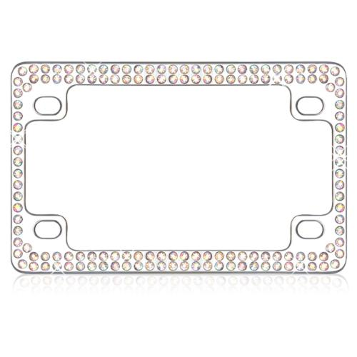 Universal Double Row Chrome Metal Frame with Multi-Color Crystals for Motorcycles