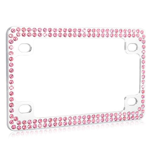 Universal Double Row Chrome Metal Frame with Pink Crystals for Motorcycles