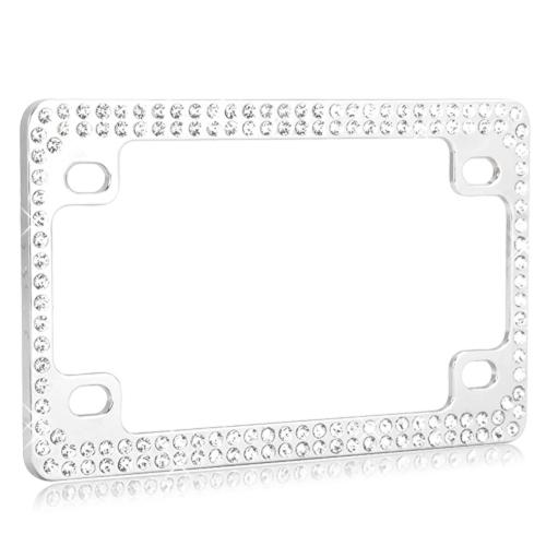 Universal Double Row Chrome Metal Frame with White Crystals for Motorcycles