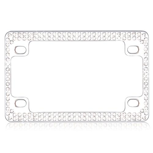 Double Row Chrome Metal Frame with White Crystals for Motorcycles