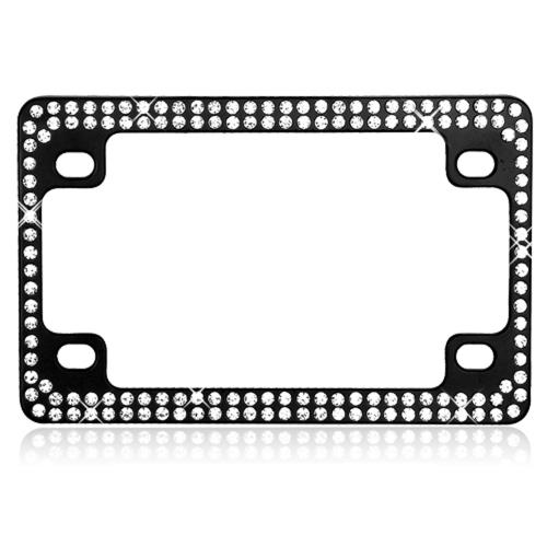 Universal Double Row Black Metal Frame with White Crystals for Motorcycles