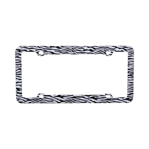 Universal License Plate Frame - Black/White Zebra