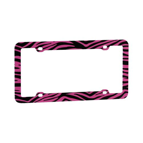 License Plate Frame - Pink/Black Zebra