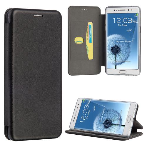 Samsung Galaxy Note 7 Diary Case, Fancy Faux Leather Flip Wallet Diary Case w/ Card Holders [ Black]