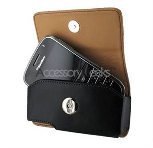 Universal Cellet Horizontal Leather Holster Pouch w/ Belt Clip - Black (PUT)