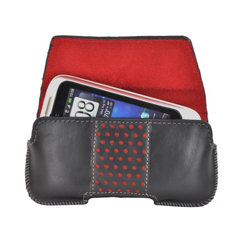 Original Swiss Leatherware Universal Horizontal Leather Pouch w/ Belt Clip & Magnetic Closure - Black w/ Red Polka Dots & Interior (BM)