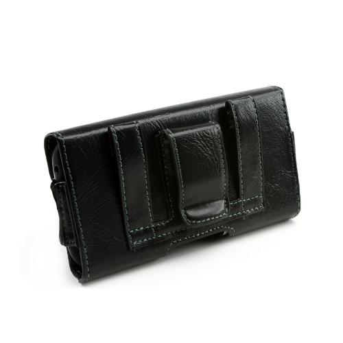 Universal Leather/ Nylon Horizontal Holster Pouch w/ Magnetic Closure & Belt Clip - Black (PUTXL)