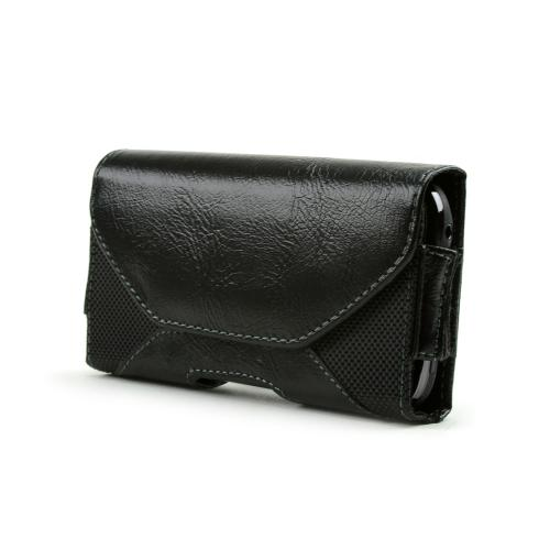 Universal Leather/ Nylon Horizontal Pouch w/ Magnetic Closure & Belt Clip - Black (PUTXL)