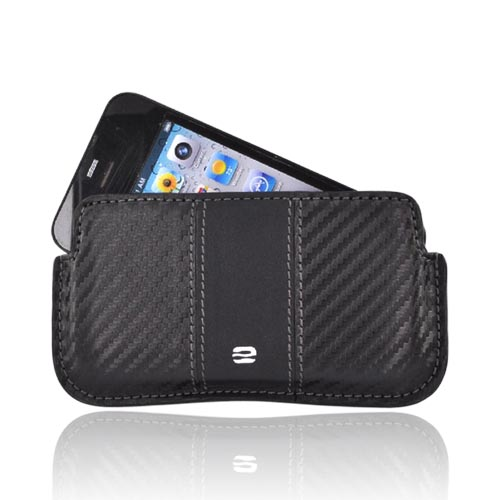 Original PureGear Universal Apple iPhone 3G 3GS 4 Horizontal Soft Case Holster Pouch w/ Removable Clip and ID Slots - Black (PUT)