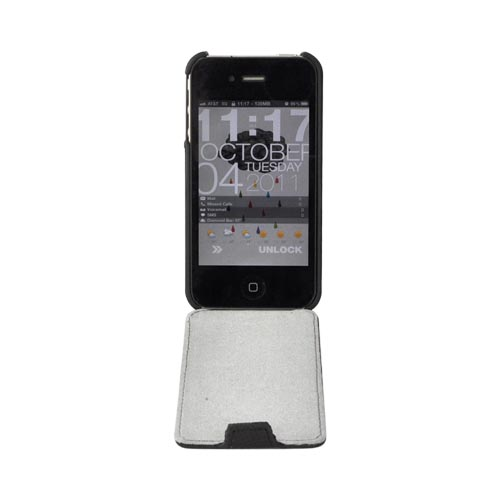 AT&T/ Verizon Apple iPhone 4, iPhone 4S Vertical Leather Pouch w/ Built-In Hard Case - Black