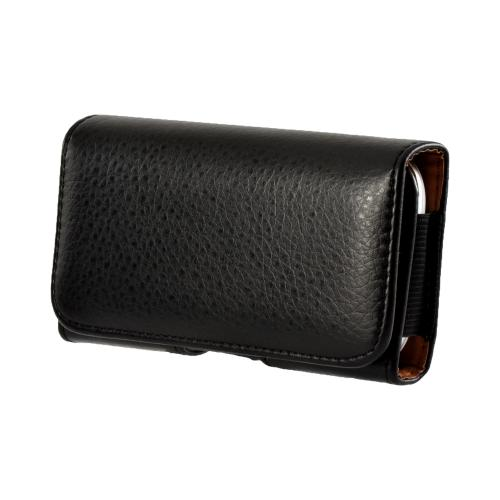 Black Universal Horizontal Leather Holster Pouch w/ Magnetic Closure & Belt Clip for Galaxy S3 Sized Phones (PUT2XL)