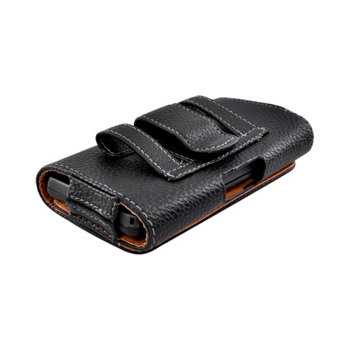 Universal Leather Horizontal Holster Pouch w/ Magnetic Closure and Belt Clip for Evo 4G, Windows Phone 7 Sizes, Droid X Sized Phones - Black (PUTXL)