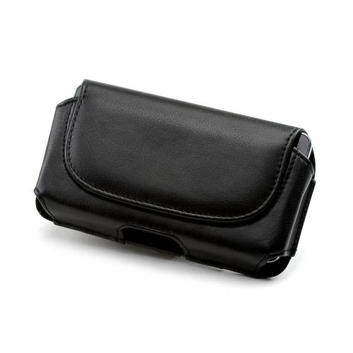 Black Faux Leather Horizontal Pouch w/ Magnetic Closure & Belt Clip for Samsung Galaxy S3 Sized Phones - (PU2TXL)