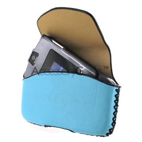 Motorola V3 / Samsung A900 Razr Baby Blue Horizontal Leather Pouch (V3 Type)
