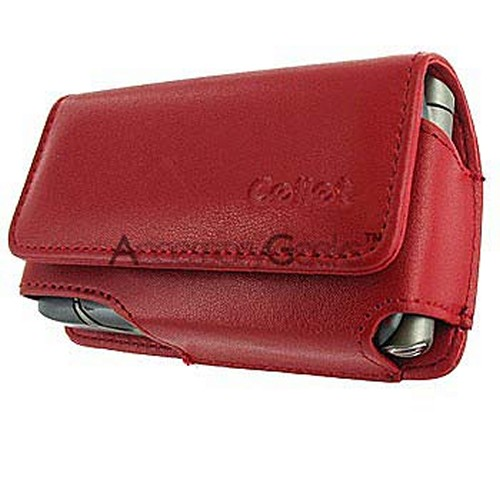 Motorola RAZR V3 / Samsung A900 / Samsung M610 Horizontal Red Leather Pouch Case